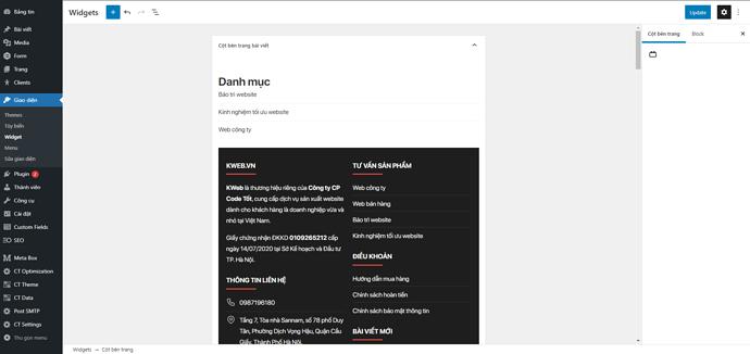 Khu vực widget area mới trong WordPress 5.8