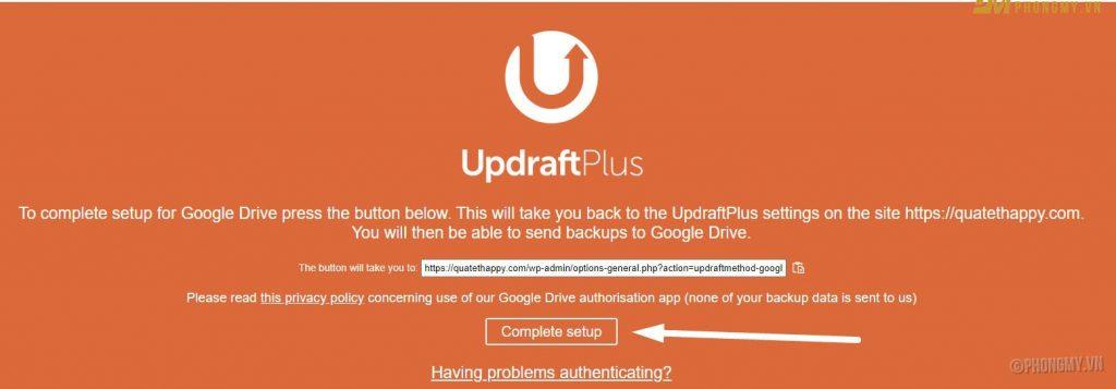 Cài đặt cấu hình google drive cho Updraftplus