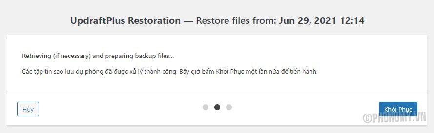 hướng dẫn restore website với updraftplus