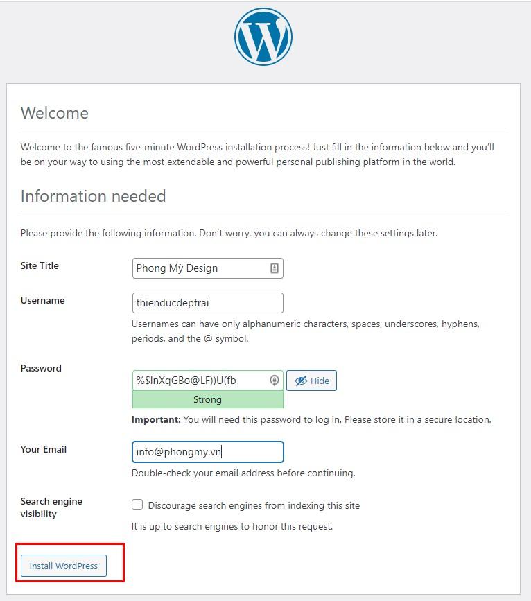 quá trình cài đặt website wordpress