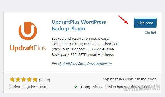 kích hoạt plugin cài đặt plugins UpdraftPlus