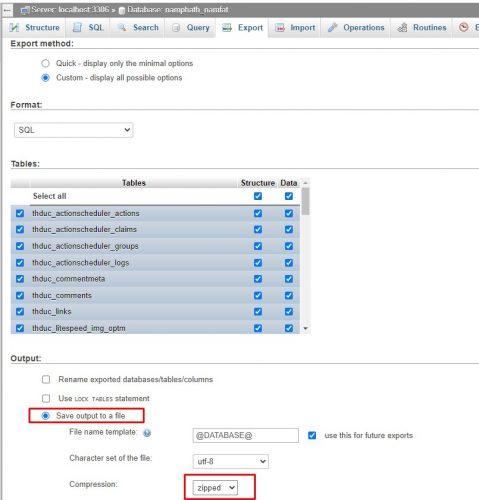 Export cơ sở dữ liệu WordPress