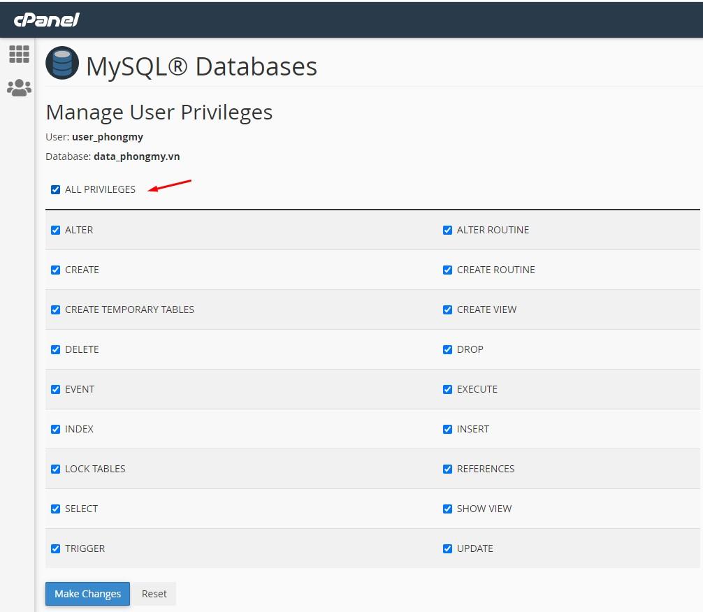 phân quyền cho user trong database mysql